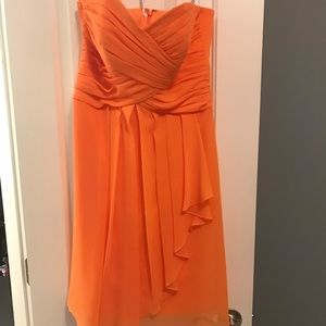 Orange David's Bridal Bridesmaids Dress